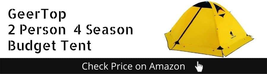 GeerTop 2 Person 4 Season Budget Tent